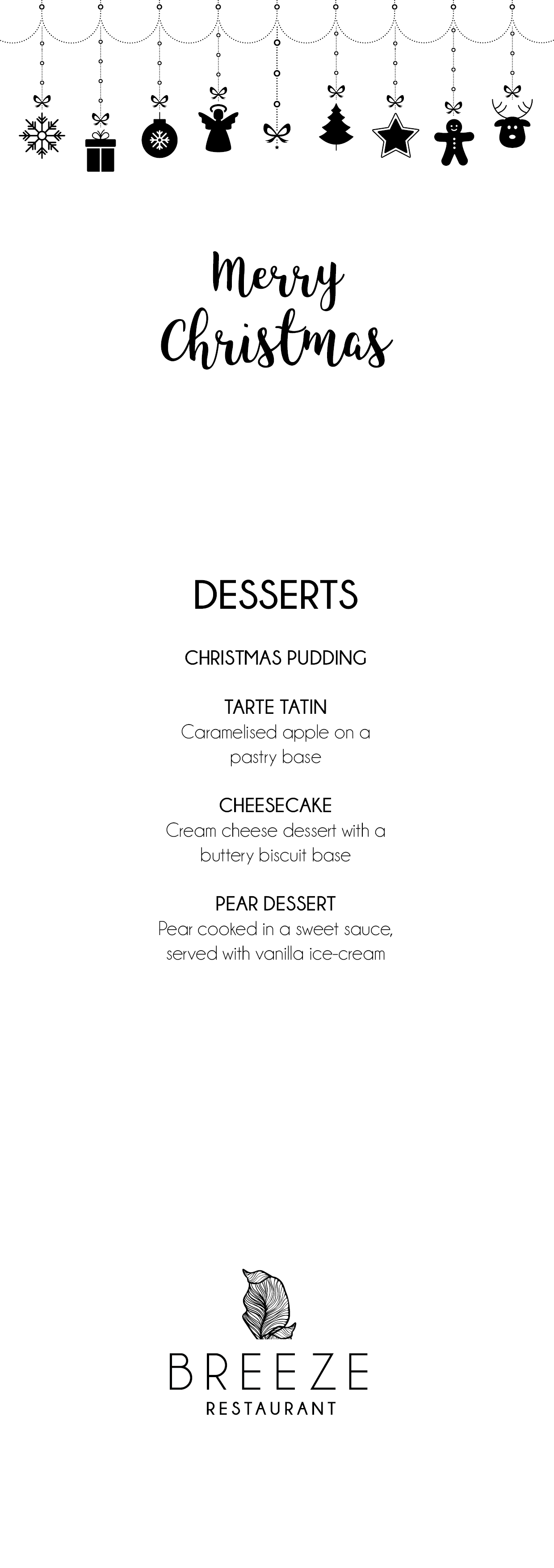 Christmas Set Menu 2018 Desserts